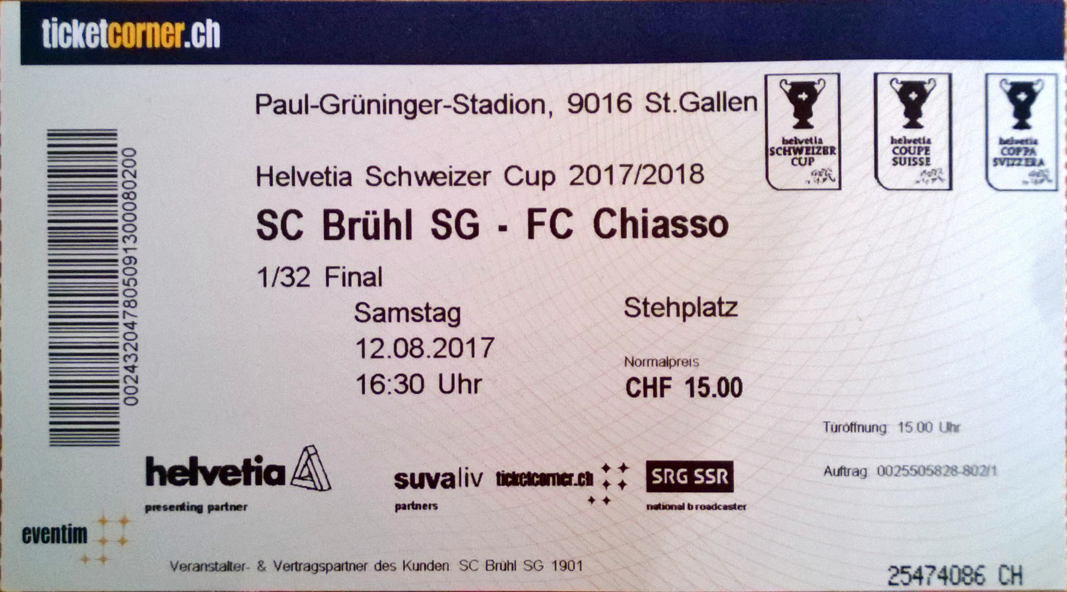 Groundhopping, St. Gallen, Paul-Grüninger-Stadion, Krontal, Fussball, SC Brühl - FC Chiasso, Ticket
